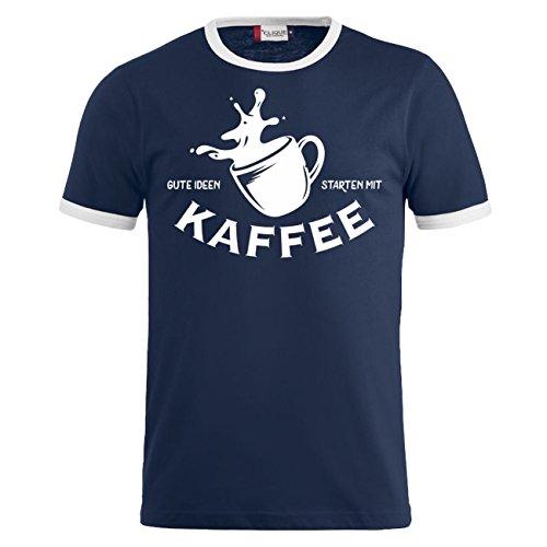 Männer und Herren Tshirt Gute Ideen starten mit KAFFEE Dunkelblau/Weiß