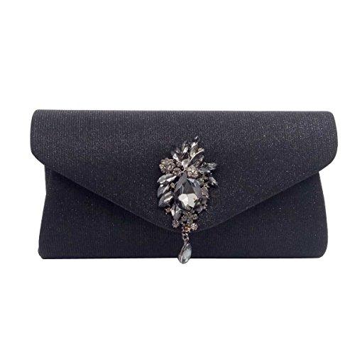 Handtasche Der Frauen Flachen Umschlag Abendhandtasche Black