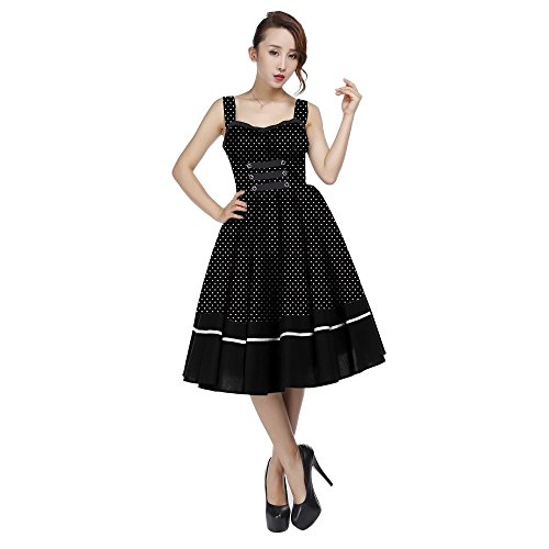 Goth Prom Dresses (Chic Star 50's Black Retro Pin Up Polka-Dot Full Skirted Dress UK Sizes)