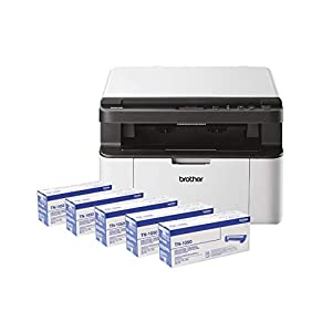 Brother DCP-1610W - Multi-Function Laser Printer - Monochrome (WiFi) - Black/White All-in box (5 toners) white