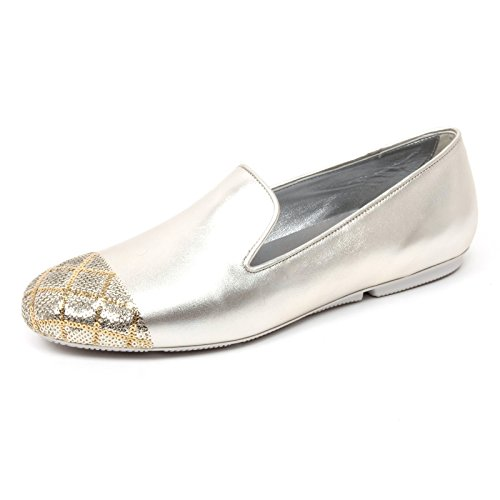 B4774 mocassino donna HOGAN WRAP 144 pantofola paillettes platino shoe woman [39]