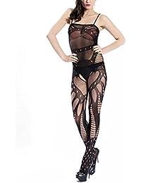 HEXUQIANG Mujer Lencería Tirantes Abierto Entrepierna Media del cuerpo Bodystocking , black , one size