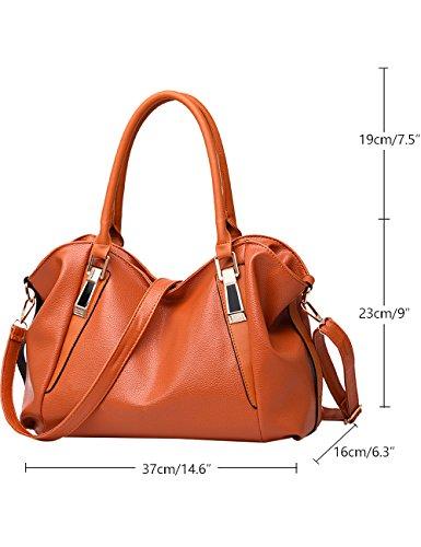 Menschwear Leather Tote Bag lucida PU nuove signore borsa a tracolla Vino Rosso Marrone