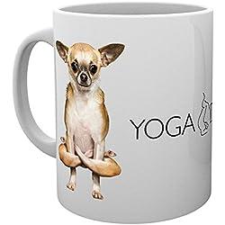 GB eye, Perros haciendo Yoga, Folded Legs, Taza