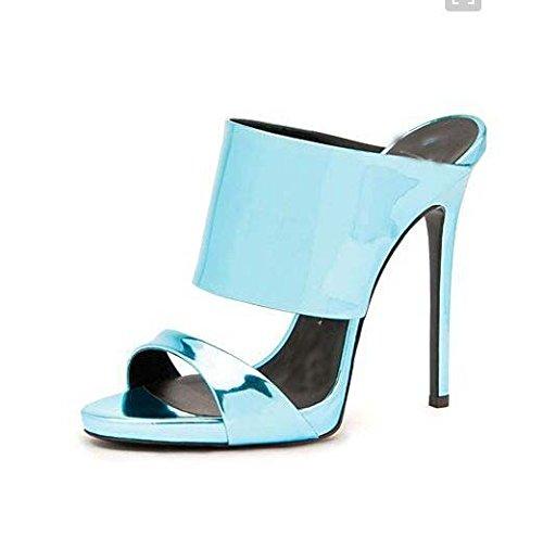 Moda sandali con tacco Alte Pure Color Roma alla moda con i tacchi alti sandali freddi Mop Sky Blue