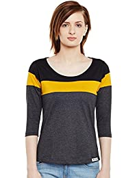 The Dry State Women's Cotton Multi Panel Multi Colour 3/4 Sleeves Tshirt