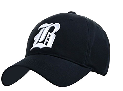 Navy Blue Baseball Cap Hut (Unisex Damen Herren Baseball Cap Caps Gothic Letter B Hüte Mützen Snap Back Hat Hats fanny ( B navy blue white))