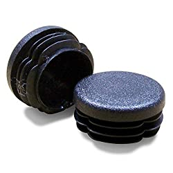 Ajile® - 16 Pieces - Round Blanking Cover Plug/Ribbed Insert/end Cap for Furniture Tubes & Pipes Exterior Diameter 22 mm - Black - EPR122x16-FBA