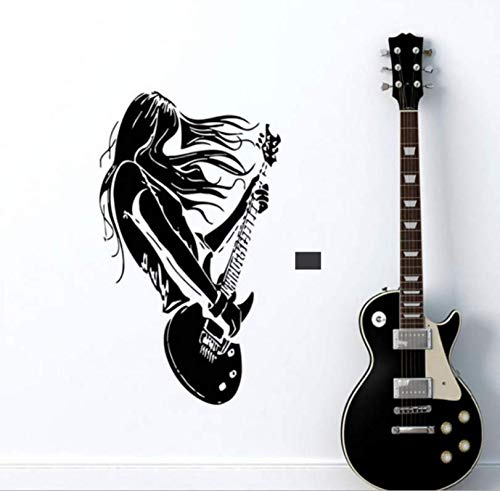 Luzhenyi Guitar Rock Girl Removable Carved Home Sticker 89X56Cm