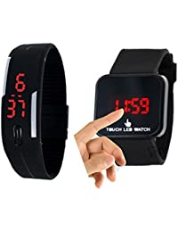 CREATOR Silicon (Random Colours Available) And Black Led Touch Screen Watches Combo For Boys And Girls