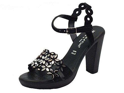 Sandali Mercante di Fiori in camoscio nero con applicazioni bianche e nere Nero