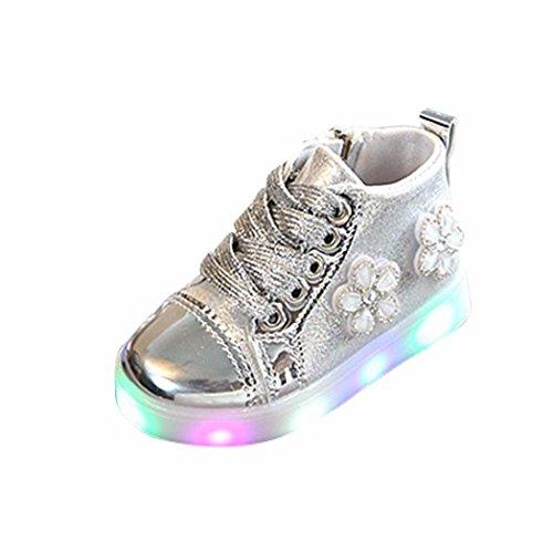 TPulling Mode Sommer Und Frühling﹛1T-3.5T﹜Kinder Mode Mädchen Jungen﹛Leuchtend LED Rutschfeste﹜Blumen Strass Mit Glänzenden Sneaker Tanzschuhe Schuhe Turnschuhe Lässige Schuhe (Silber, 25=EU:24) (Kinder Schuhe Strass)
