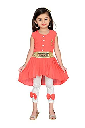 ADIVA Girl's Party Wear Dress for Kids(G_1120_Orange_18)