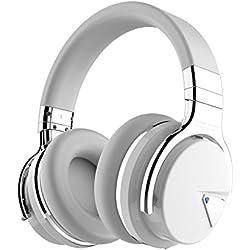 COWIN E7 Auriculares Inalámbricos Bluetooth con Micrófono Hi-Fi Deep Bass Auriculares Inalámbricos Sobre El Oído, Almohadillas de Protección Cómodo, 30 Horas de Tiempo de Juego para Viajes - Blanco