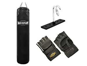 Pro MMA-Set inkl. Boxsack 180 x 35cm ungefüllt, PU MMA Handschuhen, Deckenhalterung und Heavy Duty Vierpunkt-Stahlkette