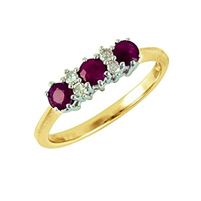 Ivy Gems 9ct Yellow Gold Ruby and Diamond Trilogy Ring