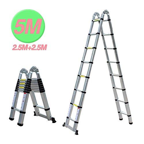 5m Escalera telescópica-Escalera extensible Escalera escalera de aluminio multiusos Escalera...