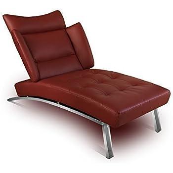 Bauhaus Daybed Chaiselongue Lounge Sessel Relax Liege Couch Sofa Echtleder,  Fuß Edelstahl Poliert. Abbildung In Leder Bordeaux (Weinrot).