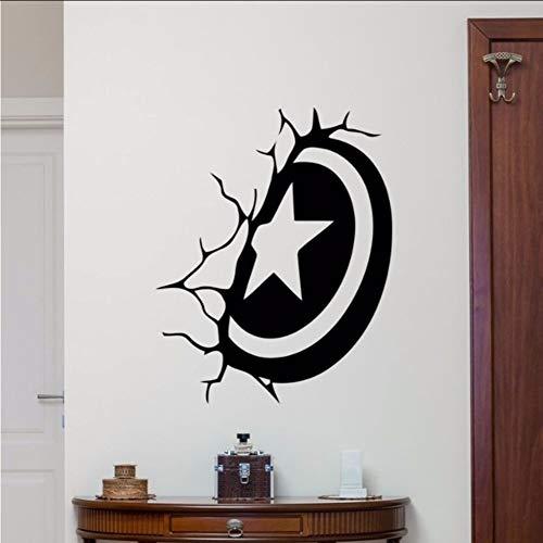 mmwin Capitán América Escudo Etiqueta De La Pared Superhéroe Etiqueta De Vinilo Decoración De La Pared para El Dormitorio Extraíble Estilo De Dibujos Animados Arte De Los Niños Cartel57 * 72 Cm