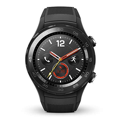 HUAWEI Watch 2 (4G) Smartwatch mit schwarzem Sportarmband (SIM-Unterstützung, NFC, Bluetooth, WLAN, Android Wear/Wear OS by Google) schwarz (Corning Gorilla Glas Iphone 4)