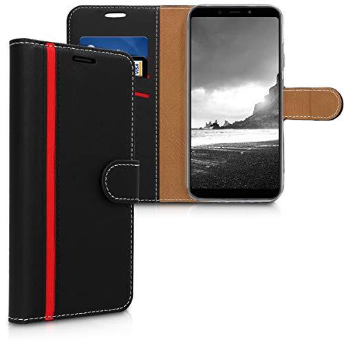 kwmobile Funda para Xiaomi Redmi 6 Pro/Mi A2 Lite - Carcasa de Cuero sintético - Case con Tapa y Tarjetero en Negro/Rojo