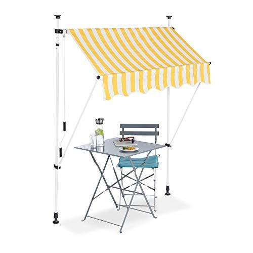 Relaxdays, Jaune-Blanc Auvent rétractable 150 cm Store Balcon Marquise Soleil terrasse Hauteur réglable sans perçage, 150 x 120 cm