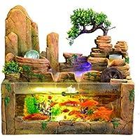 Fuente Fuente de agua Fuente de agua de interior Fuente de peces de acuario tanque artificial del paisaje del jardín de rocalla adornos de la sala de escritorio Lucky Inicio decoración de la barra de
