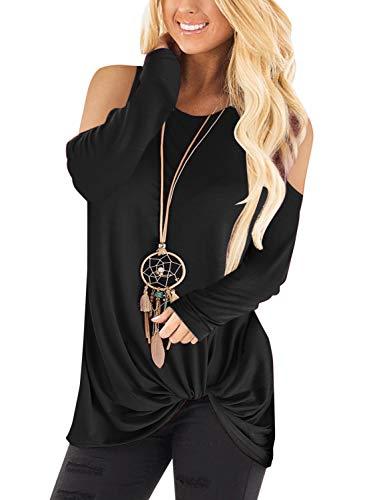YOINS Pull Long Femme T-Shirt Sport Casual Top Décontracté Chemise Femme Manche Longue Grand Taille Épaule-Noir M