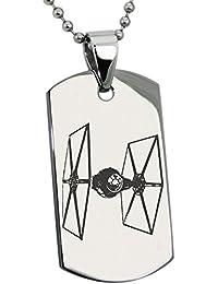 Acero Inoxidable Star Wars TIE Fighter Grabado Placa de Identificación del Colgante