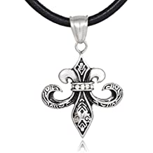 Collar de cuero unisex dondon 50 cm colgante con forma de flor de lis en un cordón de acero inoxidable