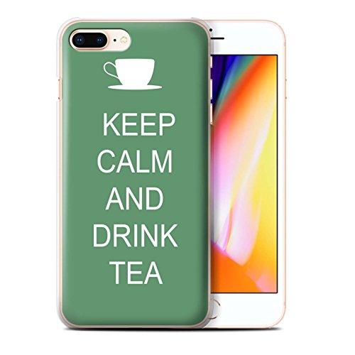 Stuff4 Hülle / Case für Apple iPhone 8 Plus / Schnurrbart/Braun Muster / Bleib Ruhig Kollektion Tee Trinken/Grün