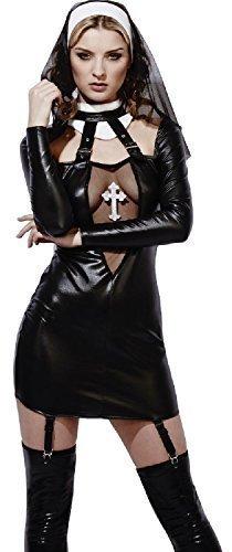 Lack-Optik FeTisch Unterwäsche Rollenspiel Nonne Pfarrer & Torten Hen Party Kostüm Kleid Outfit UK 4-18 - Schwarz, 4-6 (Nonne Kostüm Outfit)