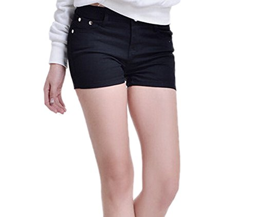 DELEY Donna Solid Stretch Caldo Pantaloni Corti Juniors Attillati Jeans del Denim Shorts Nero M