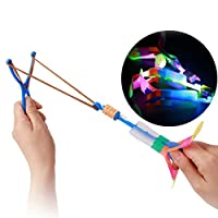 AYRSJCL 3 Pcs Funny Luminous Slingshot Flying Arrow Light Up Flashing Dragonfly Glow for Kids Party Toys Gift To Brighten Sky(Random Color)