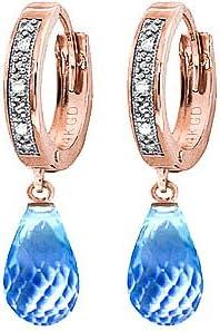 QP joyería Azul Natural topacio y pendientes de aro de diamante en 9ct oro Color de rosa - 0.04ct 3408R