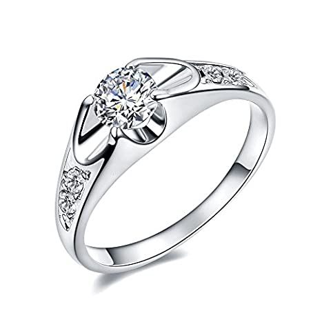 Atistic 18ct Platinum Plated 0.5ct CZ Tension Mount Ladies Engagement Rings, Size K