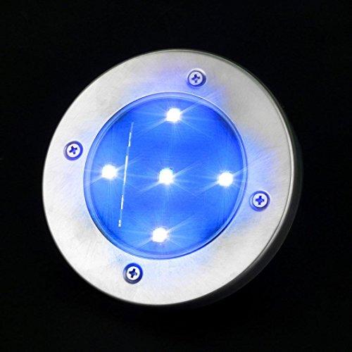Solaire Enterrée Lumière, Rameng 5LED Lampe Solaire au Sol Projecteur de Jardin pour Chemin (bleu)