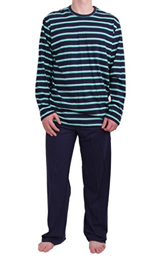 Seidensticker Herren langer Schlafanzug Pyjama Lang - 141114 Blau