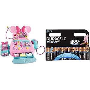IMC Toys - La Caja registradora de Minnie Mouse (181700) con Duracell - Ultra AA con Powerchek, Pilas Alcalinas (Paquete de 12) 1.5 Voltios LR06 MX1500