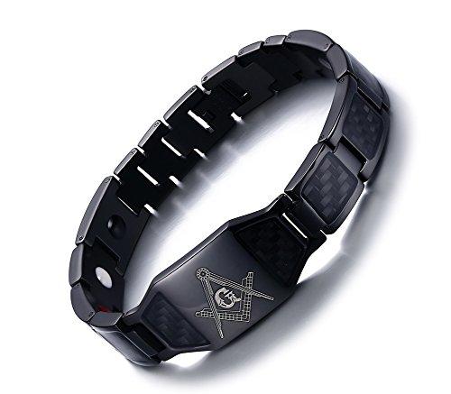 Vnox Herren Edelstahl Carbon Fiber Free Mason 4 in 1 Magnetische Therapie Heilung Freimaurer Armband (Golf-symbol Herren)