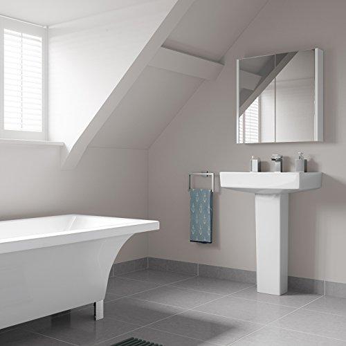 Soak Moderner Spiegelschrank für das Badezimmer – Badschrank mit Spiegel – weiß, 60 x 65 cm, einfache Montage