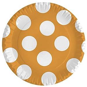 Braun & Company 3704-0004 - Platos para Fiestas (10 Unidades), diseño de Lunares, Color Naranja y Blanco