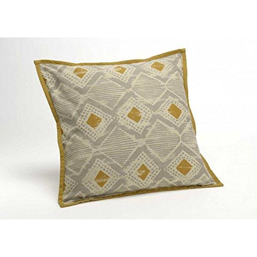 Amadeus Tanger Coussin, Cotton, Gris et Jaune, 40 X 40cm