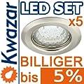 5er Set K-15 Einbaustrahler 1w 20p Led Warmweiss Inkl Gu10 230v Fassung - Chrom Poliert Silberglnzend von Kwazar
