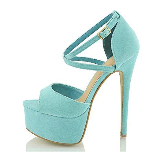 Damen Peep Toe Sandalen High-Heels Stiletto Nubukleder Plateau Knöchelriemchen Blau EU39 Rosa Peep Toe