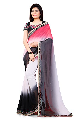 Melluha shaded saree with Heavy Embroidered Matching blouse  available at amazon for Rs.887