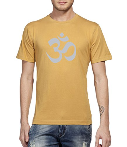 Clifton Mens Printed Half Sleeve R-neck T-shirt -Camel Brown -Om-Silver Metalic -M