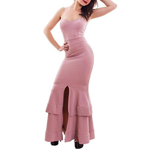 Toocool - Vestito donna elegante sirena abito lungo scollato aderente sexy nuovo CJ-9164 Rosa