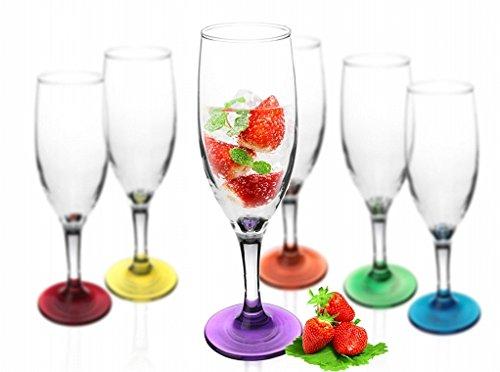 6 Sektgläser mit Farbigem Fuß 200ml Sektkelche Champagner Prosecco Gläser Sektglas Proseccoglas