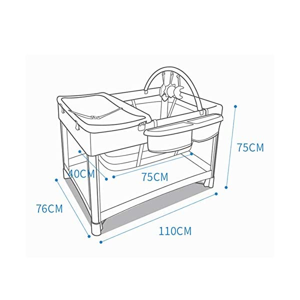 YLZT Baby Cot Bed Travel Cot Baby Bedside Crib Folding Sleep Play Centre with Bassinet Changing Top Mattress for 0-36 months YLZT ♥All suits: with cradle, replacement top, equipment package, folding mattress and transport bag, toy rack, storage bag, you will be fully equipped with all travel and baby ♥ Durable high-quality materials: Aluminum frame provides a solid and stable structure for your child's safe sleep. ♥ Easy to fold: With just a few movements, this crib can be assembled and folded compactly, making your next trip very convenient. 5